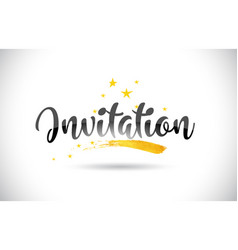 Invitation word text with golden stars trail and vector