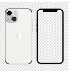 Iphone 13 silver color realistic smartphone mockup vector