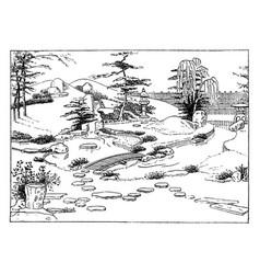 japanese garden vintage vector image