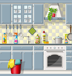 Kitchen with different cleaning agents vector