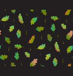leaves seamless pattern on black background vector image