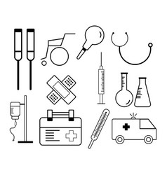 Line icons set of hospital and medical care vector