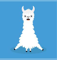 llama alpaca sitting cute cartoon funny kawaii vector image