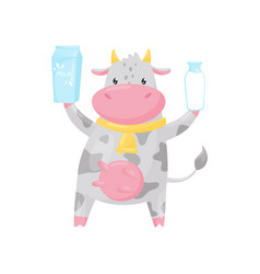 lovely spotted cow with bottle and paper box of vector image