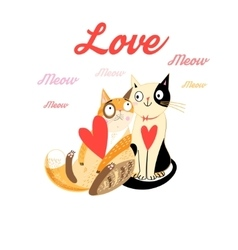 Lovers funny cats vector image