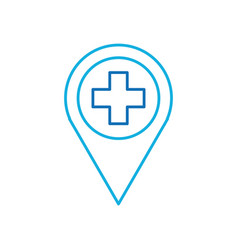 Map pointer icon with cross hospital symbol vector