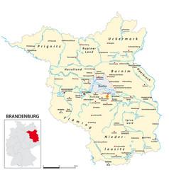 map state brandenburg in german language vector image