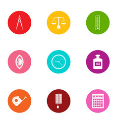 measurement icons set flat style vector image