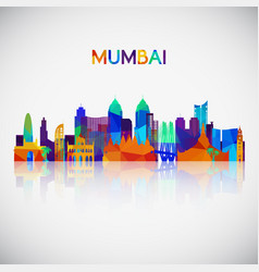 Mumbai skyline silhouette in colorful geometric vector