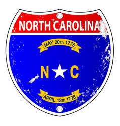 North carolina flag icons as interstate sign vector
