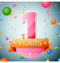 One years anniversary celebration background vector image