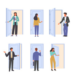 People go in and out door set office workers come vector