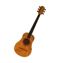 Polygon texture acoustic guitar icon vector