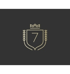 Premium number 7 ornate logotype Elegant numeral vector