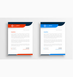 Professional letterhead template design in two vector