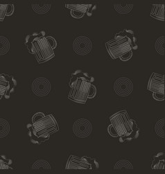 Pub print seamless pattern with mug of beer vector