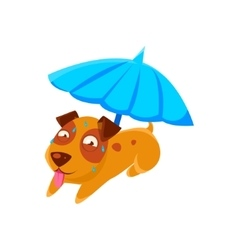 Puppy Sweating Under Umbrella On The Beach vector