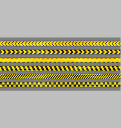 Realistic yellow seamless warning stripe lines vector