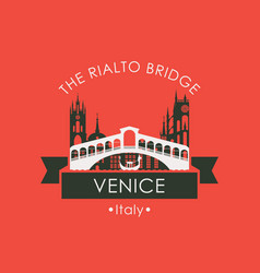 Rialto bridge logo venice architectural landmark vector