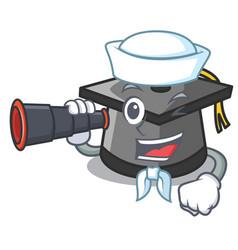 Sailor with binocular graduation hat mascot vector