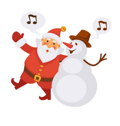 Santa and snowman singing christmas song cartoon vector