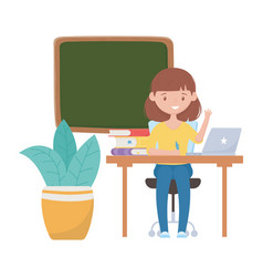 School girl with pen desk laptop board books and vector