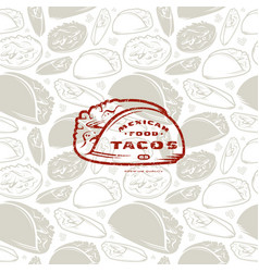 seamless pattern and emblem for mexican restaurant vector image