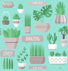 seamless pattern with cactus and succulent vector image