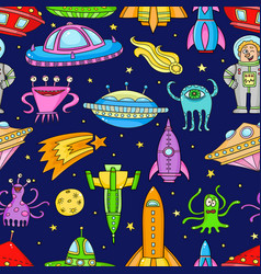 seamless pattern with space objects - ufo rockets vector image