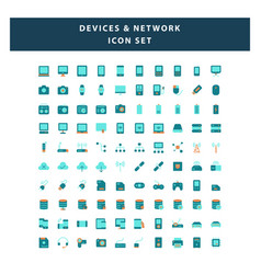 set devices and network icon with flat style vector image