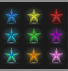 set of 9 glowing stars on a black background vector image