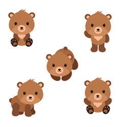 set of cute cartoon bears in modern simple flat vector image