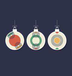 set of decorative modern art christmas balls vector image