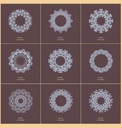 set of nine blue color oriental flower mandala vector image
