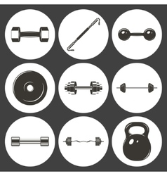 set sign weights for fitness or gym icons vector image