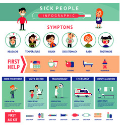Sick people infographic template vector