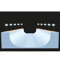 Snow half pipe at night vector image