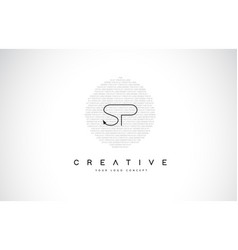 Sp s p logo design with black and white creative vector