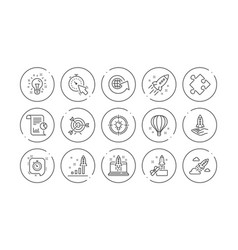 Startup line icons launch project business vector