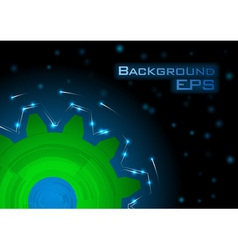 tech background blue green big wheel vector image