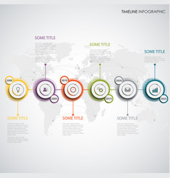 time line info graphic with abstract design round vector image