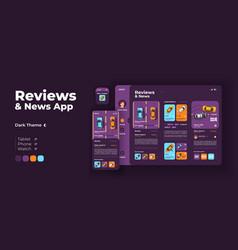 Transport reviews and news app screen adaptive vector