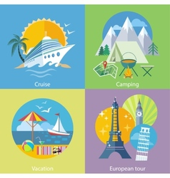 Traveling Tour Cruise Ship and Camping Concept vector image
