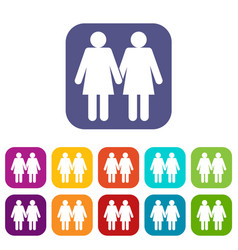 Two girls lesbians icons set vector