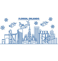 usa florida orlando winter city skyline merry vector image