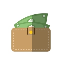 wallet bill money cash flat icon vector image
