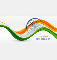 Wavy indian flag design for republic day vector