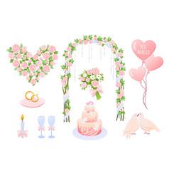 wedding elements cartoon pink vector image