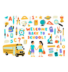 Welcome back to school cute doodle colorful set vector