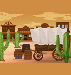 Western town scene with wooden wagon vector